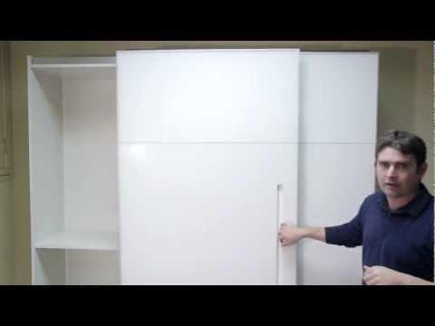 """סרטון: דלתות הזזה ע""""ג מסילה לארונות"""