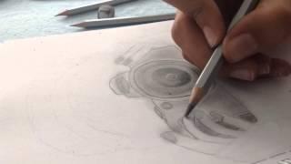 Desenho: Menina com uma câmara