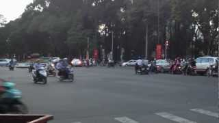 Fluid traffic flow at a Ho Chi Minh intersection