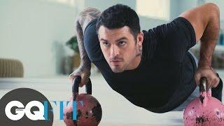 F45 Dan Conn HITT Upper Body, Core Workout For GQ: Push Up, Deadlift, Tricep Dip