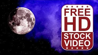 FREE HD themed Video backgrounds - full moon on night sky with stars and mist