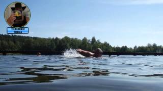 Swimming on a summer feeling Finnish lake