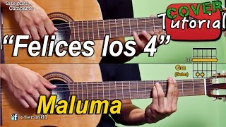 Felices Los 4 - Maluma Cover/Tutorial, Como tocar Instrumental en Guitarra