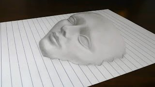 Drawing a 3D Face on Line Paper Trick Art