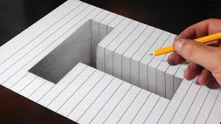Drawing a T Hole in Line Paper - Easy Trick Art Optical Illusion
