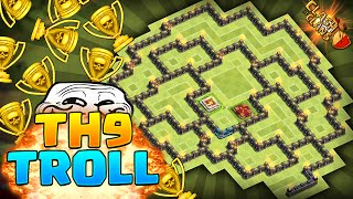 Clash of Clans - BEST TOWNHALL 9 TROLLING BASE! Clan Wars and Trophy Base!