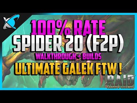 RAID: Shadow Legends | 100% WIN RATE SPIDER 20 | Walkthrough + Builds | F2P