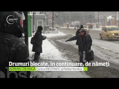 Drumurile naționale și autostrazile blocate de nămeți