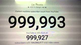 Car Throttle hitting 1,000,000 subscribers on YouTube live Counter