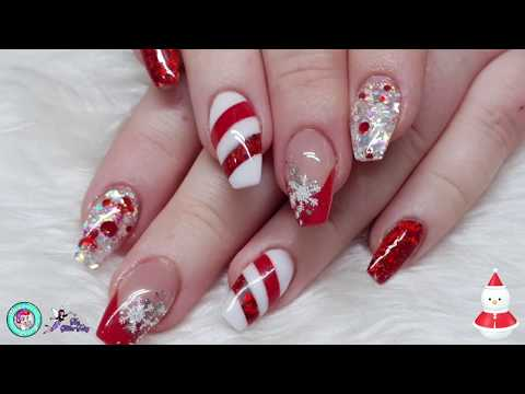 Christmas Nails! - First of Many!! - Geometric Candy Cane - Stamping