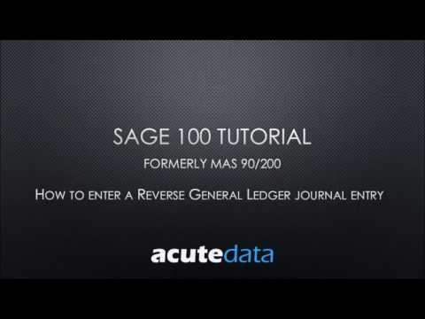 Sage 100 How to Reverse a General Ledger Journal Entry