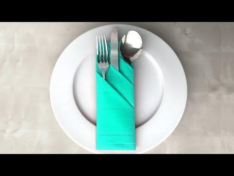 Servietten falten: Bestecktasche - Servietten falten als Tischdeko