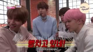 [SUB ESPAÑOL] BTS Jimin & Jin celosos - 170314 Show Champion [Behind Scenes]