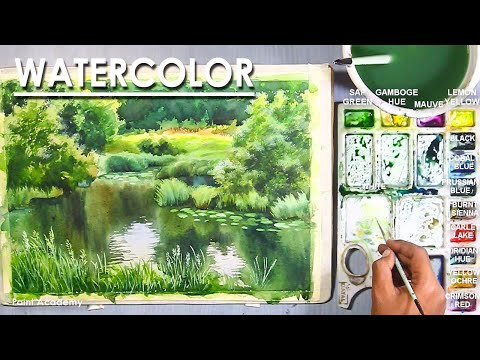 Watercolor Painting : A lake inside the forest | techniques to follow