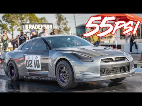 1800HP Nissan GTR on 55PSI - BRUTAL Acceleration and Launches!