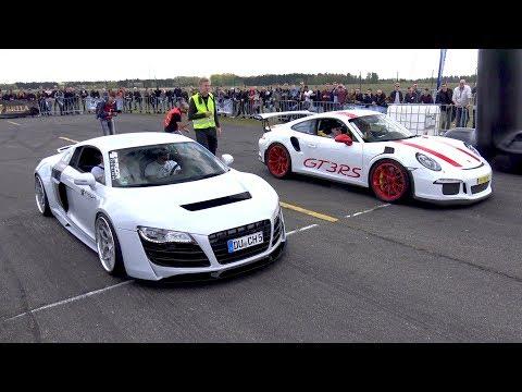 Porsche 991 GT3 RS vs Audi R8 vs SL63 AMG vs R8 V10 Spyder