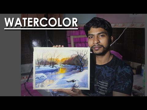How to Paint Snowy Winter Lake in Watercolor l step by step