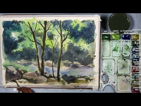How to Paint A Riverside Jungle Landscape in Watercolor