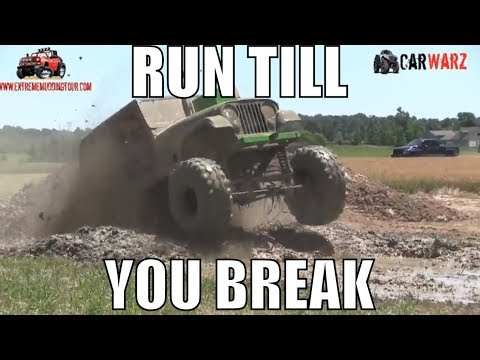 Big White Jeep Runs Till He Breaks At Red Barn Customs Mud Bog 2018