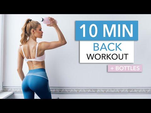 10 MIN BACK WORKOUT - upper back, lower back, lats & neck / Equipment: Bottles I Pamela Reif