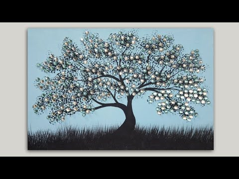 Rhinestone Tree Silhouette Acrylic Painting on Canvas Tutorial