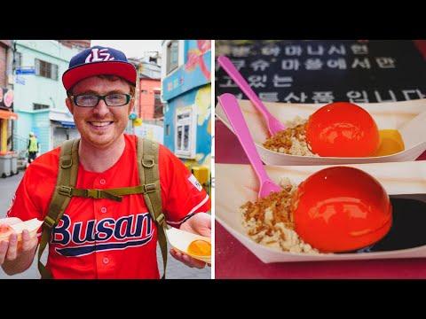 Trying UNIQUE KOREAN STREET FOOD in Gamcheon Cultural Village - Busan, Korea