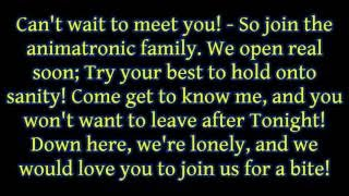 "JT Machinima ft. Andrea Storm Kaden - ""Join Us For A Bite (FNAF Sister Location Song)"" lyrics"