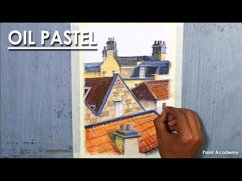 Oil Pastel Drawing : The roof of the houses