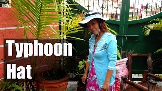 Myra's Blue Hat a Gift From Makoy Unggoy - Typhoon Sombrero