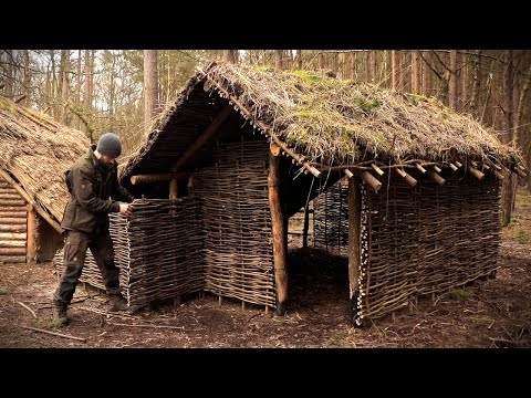 Viking House with Grass Roof: Full Bushcraft Shelter Build with Hand Tools
