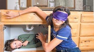 Blindfold HIDE & SEEK in the BATHROOM!