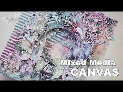 Winter Wonderland Mixed Media Canvas ♡ Maremi's Small Art ♡