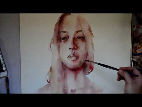 Speed Up Watercolor Portrait Painting - I Hope You Fall In Love With Being Alive