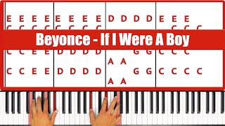 If I Were A Boy Beyonce Piano Tutorial - EASY