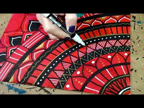Drawing a Mandala Doodle on Red Painted Paper with Paint Markers
