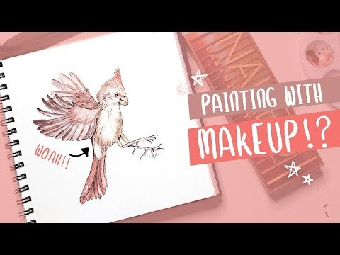 I PAINTED WITH MAKEUP ? (Bird Watercolor Painting with UD Naked Heat Palette)