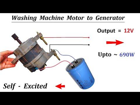 Self Excited - Make 12V 690W Generator from 220V Washing Machine Universal Motor