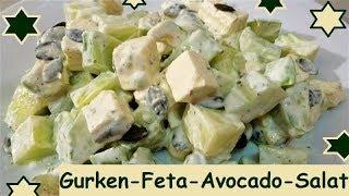 Blitzrezept: Low-Carb: Gurken-Feta-Avocado-Salat, so schön frisch!