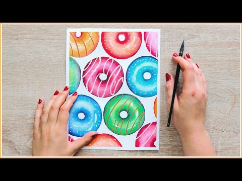 Easy Watercolor Painting Ideas – How to Paint Donuts with Watercolors!