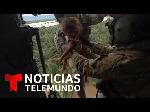 Rescatan a una niña de las inundaciones causadas por Eta | Noticias Telemundo