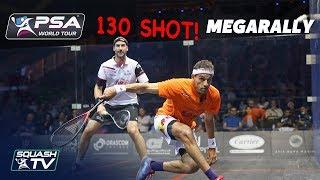 """It's like a throwback to the 70s!"" - 130 Shot Squash MegaRally - ElShorbagy v Rosner"