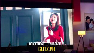 Paul Soriano, Toni Gonzaga and Seve watch their Red Ribbon ad for the first time