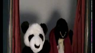 panda, pinguim e toalha
