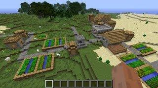 Minecraft NPC village seed 1.6.1 - 1.6.4, massive grass village with another desert village nearby!