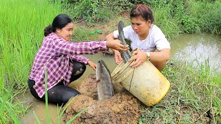 Amazing Two girls Deep Hole for food - How To find food in Rice Field