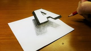 "Very Easy!! How To Drawing 3D Floating Letter ""A"" - Trick Art on Line Paper for kids"