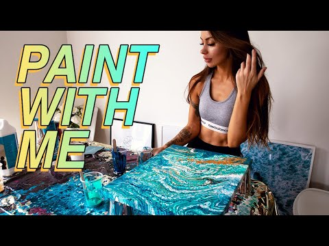Paint With Me: Acrylic Pouring | THE EASIEST FLUID ART TECHNIQUE FOR BEGINNERS!