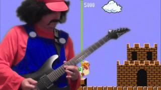 Super Mario Bros cover song on guitar - performed by Mario! And then he FREAKS OUT!