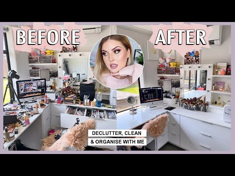 CLEAN WITH ME! ? organising & decluttering my beauty room! ?