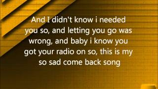 Come Back Song- Darius Rucker (lyrics)
